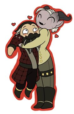 Blackwall and a Female Qunari Inquisitor (literally repinned because this is too cute a picture).