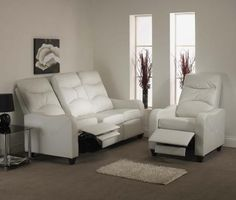 Available as a suite made up of a 3 seat reclining sofa and 2 reclining chairs. Available in Black, White and Brown.