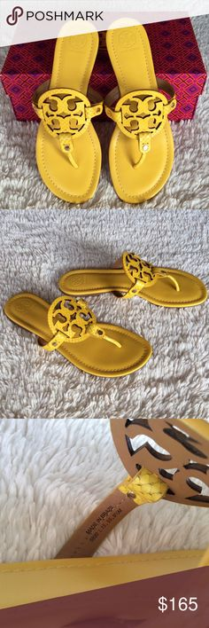 TORY BURCH MILLER EMBOSSED LEATHER SANDALS/YELLOW Authentic. Brand new with tags. They will come with dust bag and the box. These vibrant Miller sandals from Tory Burch are the perfect way to add a touch of color to your wardrobe. Crafted from snake-embossed leather in a bold yellow hue, these standout flats are guaranteed to turn heads with every wear. Style yours with dark-wash denim and a structured leather tote. PLEASE🚫NO TRADE🚫THE PRICE IS FIRM🚫 Tory Burch Shoes Sandals