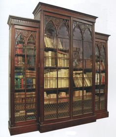 Neo-Gothic-Bookcase- reclaimed antique bookcase- make into bar shelving