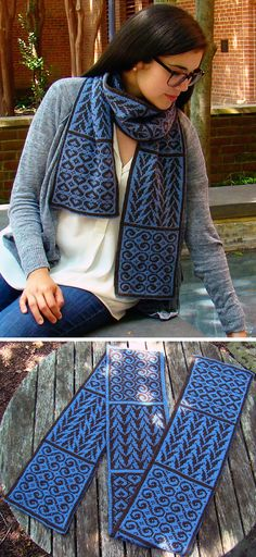 Free Knitting Pattern for Crystalline Symmetry Sampler Scarf - This double-knit scarf designed by a mathematician knitter Susan Goldstine to demonstrate 9 of the twelve possible plane symmetry structures described by mathematical artist Mary D. Shepherd. (A more detailed explanation is available on the pattern page at Knitty.)