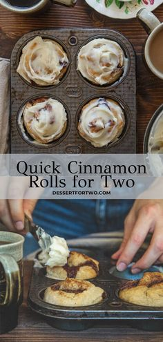 Cinnamon rolls for two that are so quick and easy, plus made without yeast! This cinnamon roll recipe will be your new weekend favorite! Köstliche Desserts, Delicious Desserts, Dessert Recipes, Yummy Food, Cinnamon Desserts, Cinnamon Recipes, Homemade Desserts, Homemade Breads, Health Desserts