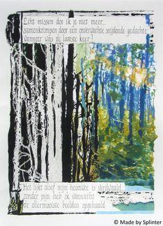 'Missen' ansichtkaart gemaakt door Saskia Splinter #postcard #art #calligraphy #ansichtkaart