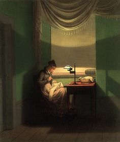 1823  Young Woman Sewing by Lamplight  by Georg Friedrich Kersting (German, 1785–1847)   metmuseum.org