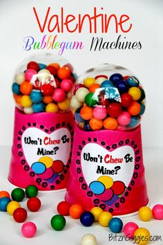 DIY Bubblegum Machines: A super fun and simple gift to make for family or friends for Valentine's Day! So cute! {BitznGiggles.com}