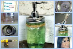 Remove lid, puncture a few holes in lid.  With the biggest drill bit you have make opening large enough to fit pump securely.  Put pump through the hole.  Clean well and filled with  hand soap (also a dollar store find) and add twine as a rustic and decorative touch.