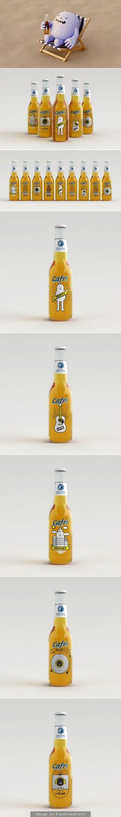 How cute is this Cafri beer packaging from Sticky Monster Lab curated by Packaging Diva PD. Food Packaging Design, Beverage Packaging, Bottle Packaging, Brand Packaging, Branding Design, Sticky Monster, Bottle Design, Hipster, Craft Beer