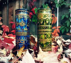 Bohemian Prayer Candle Duo in Blue and Green, Etsy. $40.  Boho, gypsy, tribal fusion, mehndi.