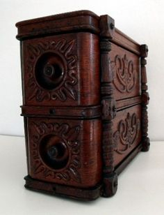 Treadle Sewing Machine Two Drawer Cabinet Ornate Wood Pulls and Decorative Side | eBay