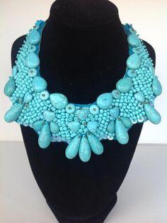 Felt turquoise collar necklace