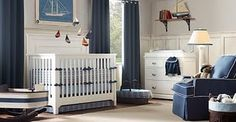 navy and white baby room