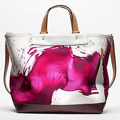 Coach new line of handbags by James Nares pink & white leather tote .Other colors available