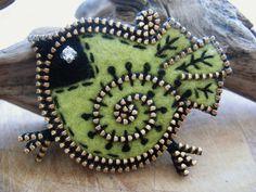 A Little Green Bandit ~ Felted Bird with a Rhinestone Eye ... by Woolly ....