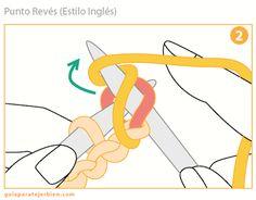 El Punto Revés es justamente lo opuesto al punto derecho. Se sostienen las agujas de la misma manera pero el hilo se coloca por delante de l...