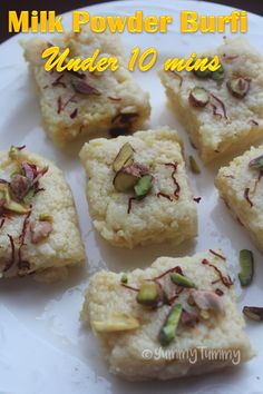 Such an easy desert made using milk powder. It hardly takes 10 mins to make from start to finish.You need only 4 ingredients & 10 mins. Easy Indian Dessert Recipes, Indian Desserts, Indian Sweets, Desert Recipes, Indian Food Recipes, Pakistani Desserts, Indian Dishes, Milk Recipes, Sweets Recipes