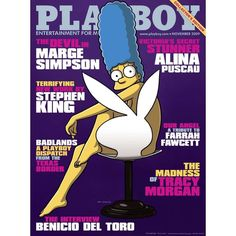 "Near the release of ""The Simpsons Movie"" Marge Simpson appeared nude in Playboy. The fact that she is the first animated woman to grace the cover of Playboy is comparable to the first African-American woman to grace their cover. Homer Simpson, Fernanda Young, Playboy Cartoons, Tracy Morgan, Hugh Hefner, Chelsea Handler, Joan Baez, Farrah Fawcett, Playboy Bunny"