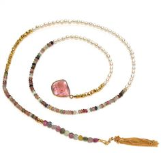 Tourmaline Slice Lariat Necklace Rainbow Tourmaline by FizzCandy, $110.00