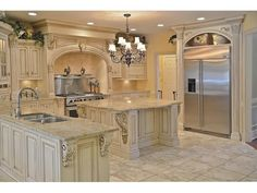 Arch over fridge Fancy Kitchens, Elegant Kitchens, Luxury Kitchens, Beautiful Kitchens, Home Kitchens, Tuscan Kitchens, Contemporary Kitchens, Contemporary Bedroom, Tuscan Kitchen Design