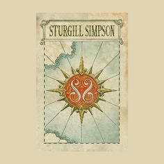 Sturgill Simpson 18x24 Map Poster Map Compass, Compass Rose, Sturgill Simpson, Concert Posters, Playing Guitar, Xmas, Tapestry, Friends, Artist