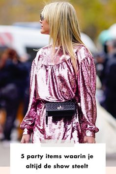 woman | pink | dress | glitter | bag | black | blonde | woman | streetstyle | milam | paris | party | christmas | holiday