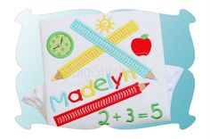 School Pencil Scribbles Applique ~ This back to school applique design features colored pencil scribbles. Font shown (the name Madelyn) is Child's Handwriting Embroidery Font and is available as a separate purchase.