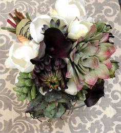 Plum Bouquet with Succulents, Lilies & Magnolias.