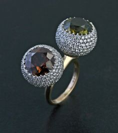 Twin Zircon, Diamond and 18K Rose Gold Ring by James de Givenchy #Taffin #JamesdeGivenchy #Ring