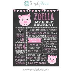 This adorable Pig First Birthday Chalkboard Sign will make for a great keepsake…