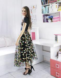 #saia #skirt #floral #black #midi #modaevangelica #AnaKarla