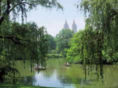People row through Central Park with The San Remo Building in the background. The San Remo was featured in Ghostbusters, and at one time or another was home for Bono, Rita Hayworth, Steven Spielberg, Donna Karan, Demi Moore, Dustin Hoffman, Steve Martin Bruce Willis, Eddie Cantor, Zero Mostel, Barry Manilow (who subletted to Raquel Welch), Jack Dempsey, Mary Tyler Moore, Peter Allen, and others.