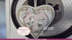 """COEUR A SUSPENDRE """" REF 2433 TOILE DE JOUY ROSE TAUPE : Textiles et tapis par deco-passion-sol-n"""