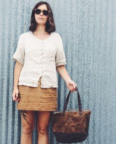 Waxed canvas bucket bag by anhaicabagworks on Etsy
