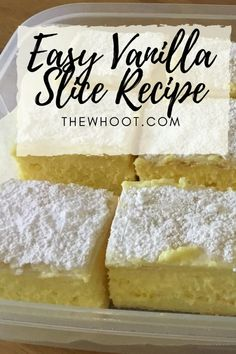 This easy vanilla slice recipe is made with puff pastry and you are going to love it. Custard Recipes, Almond Recipes, Tea Recipes, Sweet Recipes, Baking Recipes, Dessert Recipes, Vanilla Custard Cake Recipe, Easy Custard Recipe, Sweets