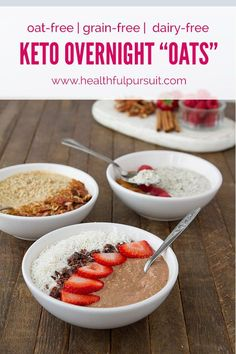 "Keto Overnight ""Oats"": 3 Flavors (oat-free, paleo, sugar-free, dairy-free + vegan)"