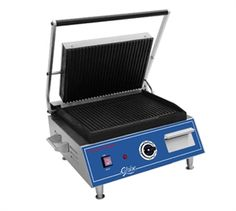 """GLOBE Sandwich Grill Toaster, Panini Grill, medium, cast iron grooved griddle plates, 14"""" x 10"""", stainless steel construction, on/off switch, heavy duty hinge, adjustable stainless steel feet, removable catch tray, 120v/60/1-ph, 1800 watts, 15 amps, 48"""" flexible cord with NEMA 5-15P, NSF, UL @$473"""