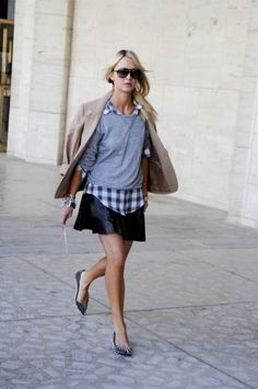 gingham, sweatshirt and studded flats