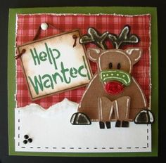 I made a bunch of these cards for my oldest daughter who can't find time to emboss.  LOL  I love this reindeer as he really looks like he needs help!  On L.I. Blog also.