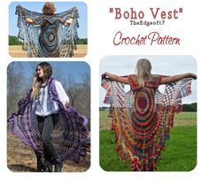 My Mom is making this for me!!! YAY. Bohemian Vest Crochet PATTERN ONLY --- Stevie Nicks Style, Boho Shawl Cape Vest on Etsy, $6.35