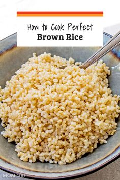 How to Cook Perfect Brown Rice on the Stove — The Mom 100 Learn How to Cook Perfect Brown Rice on the Stove—A recipe for perfect brown rice every time! Finally get over your brown rice fear and get that ideal bowl of plump, chewy little nutritious grains. Healthy Rice Recipes, Vegetarian Recipes, Cooking Recipes, Keto Recipes, Cooking Hacks, Vegetarian Dinners, Healthy Dinners, Quick Meals, Yummy Recipes
