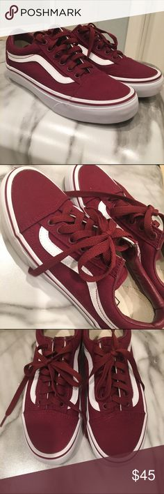 Burgundy Vans Old Skool Skate Shoes I have some ⭐️BRAND NEW⭐️ Women Vans classic skate shoe with the iconic sidestripe. They're a beautiful maroon/burgundy color. Never worn--No Box. ⭐️COMMENT an OFFER⭐️ To trigger REDUCED Shipping Let me know if you have any questions! Vans Shoes Sneakers