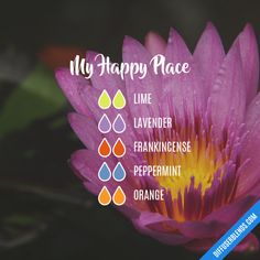 My Happy Place - Essential Oil Diffuser Blend - I need to look into if I can get a kit of different oils. Essential Oil Diffuser Blends, Doterra Essential Oils, Doterra Blends, Yl Oils, Young Living Oils, Young Living Essential Oils, Limpieza Natural, Oil Mix, Aromatherapy Oils