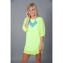 EVERLY: Sea Island Tunic-Highlighter Yellow - $44.00