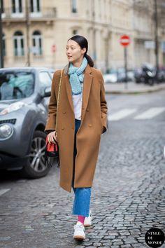 cool camel with a pop of blue. #SungheeKim #offduty in Paris.