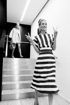 Dolce & Gabbana Spring 2013 Gorgeous black and white striped dress Spring fashion trend 2013