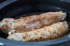 Mijoteuse : Filet de porc à l'asiatique /Cinq Fourchettes Sauce Pour Porc, Slow Cooker Ribs, Crockpot, Main Dishes, Sausage, Food And Drink, Pork, Cooking Recipes, Keto