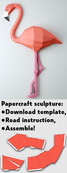 Paper craft flamingo template, DIY Papercraft 3D origami