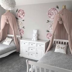 60+ Inspiring and Creative Kids Bedroom Decorating Ideas for Girls & Boys - Page 13 of 64 - Soflyme Kids Bedroom Designs, Room Ideas Bedroom, Kids Room Design, Baby Room Decor, Sister Bedroom, Kids Bedroom Ideas For Girls Toddler, Girl Bedroom Decorations, Bedroom Decor For Kids, Girl Kids Room
