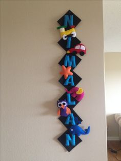 Felt Name board Wall decor . I did it for my 3 year old boy who loves cars, trains ,elephant and whale.