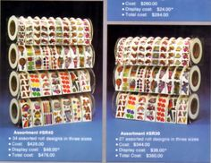 Awesome display for stickers rolls from a vintage 80's Decal Specialties (BJ) brand catalog.