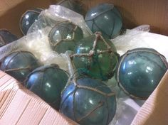 "Huge Antique Japanese fishing floats, just $36 each! These are hand blown glass floats with the original rope, used for  fishing net floats. We have a great selection of large glass net floats in stock. Most measure 10"" to 12"" in diameter. Each is unique! A work of functional art. Loads of nautical and beachy decor at Decor Direct"